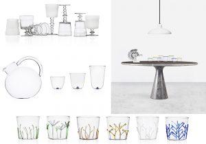 ichendof table composit Bianca caraffa Bouquet bicchieri Bambu e Sorso e Greenwood