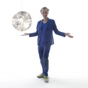 Richard Hutten with Pitagora lamp by Richard Hutten credit by Tony Meneguzzo