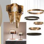 Darmes luminaires / Slamp modello Aria Gold di Zaha Hadid/ FontanaArte lampade Equatore / Henge serie Ring / Kartell disegnato da Ludovica-e-Roberto Palomba / Slamp e Montblanc per Overlay lamp