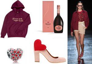 felpa LoveTheraphy / ciondolo a cuori Pandora / Ruinart Rose champagne / scarpe Chie / look Byblos Milano