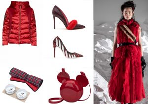 Areonautica militare red duvet / Blumarine fur / shoes by Aldo / Miradolian shoe / Rubner Haus & Poldo Dog Couture / Melissa together with Disney for Micky Mouse bag / total look Moncler by Simone Rocha
