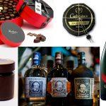Bodrato chocolate selection / Calvisius Caviar / Mum Champagne Cordonrouge bottle / Chocolate cream by Pasqualina / Rum Diplomatico