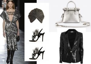 Christopher Kane silver dress / Marzi hat / silver bag by Maison Margiela / black sandals by Andrea Mondin / evening jacket Doris S