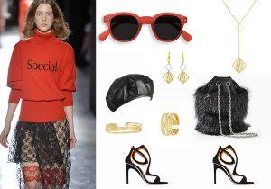 Christopher Kane total look / Izipizi sun eyewear / Marzi cap / Rodo fur bag / Stroili Oro Sauvage collection / sandals by Damiani Marini