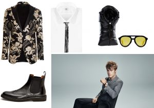 Cor Sine Labe Doli evening jacket shirt and tie / boots Dowson / Moncler Geniuos duvet neck and eyewear / Daniel Wellington watch