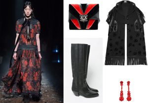 Dress and luxury Cape by Coach / Sara Giunti Galassia Mondrian bag / Golden Goose Deluxe cowboy boots / special earings by Simone Rocha for Moncler Genious