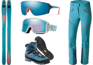 Dynafit Alpine ski and pants Mercury windstopper / Smith mask by Safilo / Oakley frame by Luxottica / Lowa Alpine boots