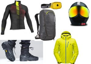 GSG Everest jacket / Moncler Genius pouch / Momodesign ski helmet / Thule Stir backpack / Mammut Taiss GTX Vibram / Spyder Gore-tex jacket