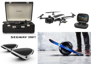 Giradischi Crosley Portfolio distribuito da Moroni Gomma / Drone con camera GoPro Karma Hero 5 / e-skate Segway Drift W1 / pedana roll di MasterDrone