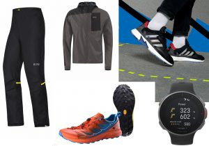 Gore-tex Running pant and jacket / Adidas Originals shoes inspired by running / Kailas Fuga Pro Mountain Running shoes by Vibram / Polar Vantage V sportwatch
