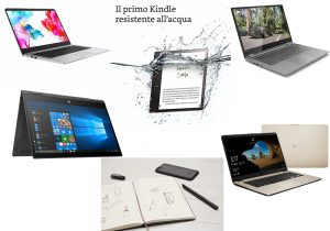 "Huawei Matebook con processore AMD Ryzen / Kindle Oasis resistente all'acqua in vendita su Amazon / Lenovo Yoga 530 con processore AMD Ryzen / HP ENVY X360 13"" con processore AMD Ryzen / Moleskine Pen + Ellipse writing set / Asus Vivobook S505 con processore AMD Ryzen"