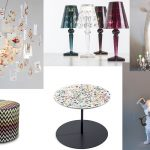 Ingo Maurer Laughing Buddha lamp / Big Battery lamps by Ferruccio Laviani for Kartell / Missoni Poppies / Tavolino Gong by Giulio Cappellini /  Marcantonio lamps 'Dog 5 minutes alone' and 'Giraffa'