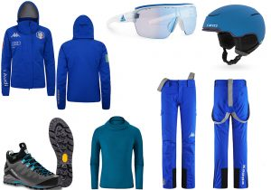 Kappa ski jacket and pants / sporty frame by Adidas / helmet Giro / mountain boots by Dolomite