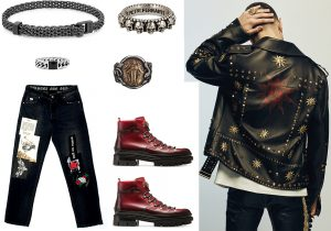 Kulto bracelet / Buddha to Buddha chain stone ring / Piero Ferrante's ring / Marco De Luca black and gold ring / John Richmond denim trousers/ Bally Madison boots / Fausto Puglisi total look