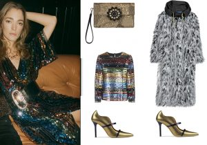 Mango lurex dress and pullover / Etro hand bag / Diesel fur coat / gold shoes by Malone Soulieres