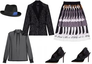 Marzi hat / Evening jacket by Maje / shirt by Intimissimi / skirt by Peech / Andrea Mondin shoes