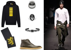 Moncler Genious limited edition sweatshirt / Pringle of Scotland scarf / Nove25 chevalier ring and snake bracelet / Nellos boots / Marcelo Burlon for County of Milan total look