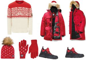 Napapijri pullover / Canada Goose Winter Jacket / cap and gloves by Rossignol / water-resistant boots by Woolrich