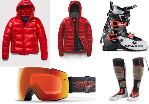 North Sails duvet jacket / Canada Goose duvet jacket / Scarpa free-ride boots / Smith ski frame / 'Warm me' socks