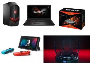 PC desktop Tower Omen by HP con processore AMD Ryzen / Asus Rog Strix per videogamers con processore AMD Ryzen / NetgearXR500 Box / Nintendo Switch in vendita su Amazon