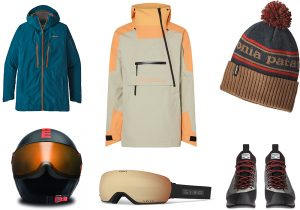 Patagonia Powslayer jacket and cap / O'Neil ride jacket / Momodesign Skikomet helmet / Giro ski mask / Dolomite Veloce boots by Vibram