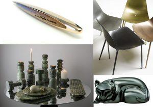 Pininfarina Cambiano gold Pen / Mammamia chair by Opinion Ciatti / Tom Dixon Rock design set / Nikko cat by Chorustyle