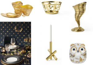 Tom Dixon Bash gold vases Basket by Andrea Branzi for Ghidini Candle stick by Campana Brothers for Ghidini Tornado vase by campana Brothers for Ghidini Owl Fiorata by Fornasetti.