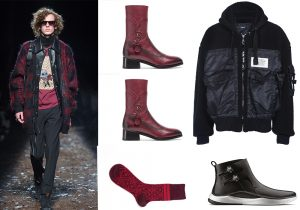 Total look Coach 1941 with burgundy boots / socks by Alto Milano / bomber jacket Diesel / boots Clarck