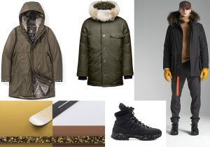 Winter Jacket by Esemplare / Johan Army Jacket by Nobis / Zero Ski luxury on demand gear / boots by Premiata and Vibram / Total look Woolrich