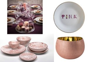 Maison du monde Christmas table decoration porcellane by Zafferano piatto Pink Dalwin Design by Artemest velvet pink glass design Zanetto by Artemest