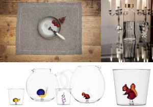 Busatti tovaglietta americana Zodiaco / IGuzzini 100 Gold Ettore Sottsass / jugs glasses Animal Farm by Alessandra Baldereschil per Abitare Ichendorf