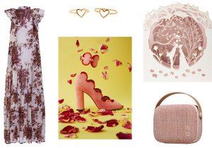 abitino Jolie Fille / anelli cuore Atelier VM / scarpe con cavigliera Paula Cademartori / card 3 D Innamorati di Fabriano / diffusore bluetooth Made in Design