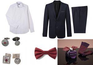 camicia e completo giacca pantaloni Kiabi Uomo / gemelli Buccellati / cravattino Mango Man / calzini Issey Miyake Men