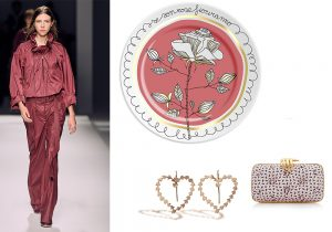 look Coach / piatto Ilaria.i 'Se sono rose fioriranno' / orecchini cuore Tulipa Agapanthus / borsa Carmen by Benedetta Bruzziches