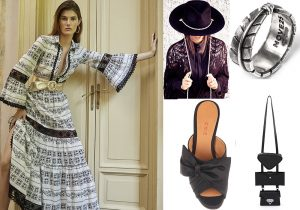 Blumarine dress / Superdruper hat / fascia penna acquila di Nove 25 / sabot Chie / multi bag Salar