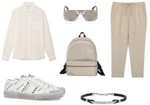 camicia e pantaloni Muji / occhiali Diesel / sneakers Playground / zaino Moon di Jimmy Choo / bracciale Emporio Armani