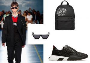 look MSGM / zaino Hogan / occhiali Diesel / sneakers Bally