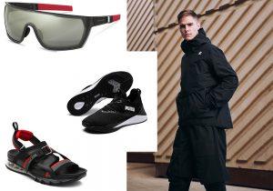mascherina Porsche Design / sneakers Puma boxe / sandali tecnici Fendi / total look Goretex e Adidas