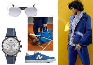 occhiali Moncler Lunettes / accessori tennis Z Zegna / orologio Emporio Armani / sneakers New Balance / total look Lacoste Keith Haring collection