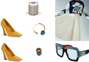 scarpe e bijoux Fendi / borsa secchiello di Salar / look Pringle of Scotland / occhiali Gucci