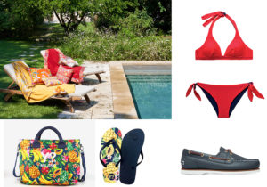 Etro home beachwear / YNOT fruits bag e slippers / costume North Sails / boatshoes Timberland