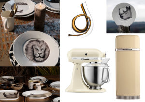 Linea tavola 'Safari' di Virginia Casa / Mini Decanter 'Horn' di Riedel / KitchenAid Iconic Fridge e Robot da Cucina 'Artisan'