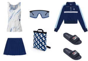 T-shirt Mango / mini gonna e giubbetto Sergio Tacchini Heritage / mascherina Kenzo / zaino Pijama / ciabattine Melissa per Fila