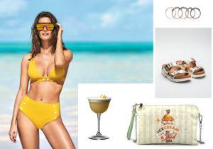 beachwear look (costume e occhiali) by Calzedonia / cocktail time con bicchieri Riedel / YNOT IceCream pochette / Barbara Biffoli rings set / sandali Wonders