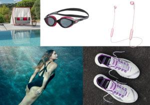 Dondolo 'Swing' di Ethimo / costume e occhialini Speedo / Happy Plugs wireless ears cuffins / sneakers Puma + Pirelli