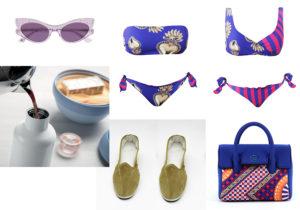 Occhiali McQueen / Guzzini 'Onthe Go' set / Goldenheart by Scostumata bikini / slippers Lac Milano / YNOT Royal bag