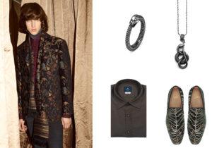look Etro / anello e collana Nove25 / camicia Giannetto Portofino / scarpe Christian Louboutin