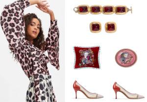 camicia, braccialetto e orecchini, cuscino e piatto firmati LDoubleJ / dècollété di Sergio Rossi