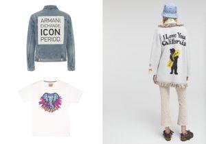 Giubbino jeans 'Icon Period' di AX Armani/Exchange / 'Elephant' T-shirt di Alessandro Erinquez / Cardigan-giacca 'I love you California' di Alanui con pantaloni rete