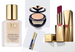 Estée Lauder make up con Double Wear foundation stay-in a tenuta prolungta, Fard e Mascara di precisione, Pure Color Desirè Rouge excess lipstick